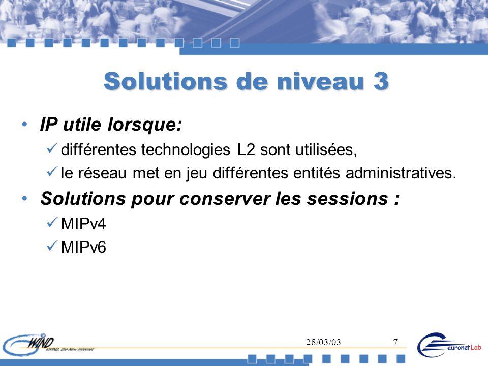 Solutions de niveau 3 IP utile lorsque: