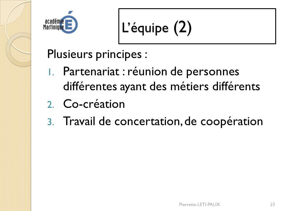 L'équipe (2) Plusieurs principes :