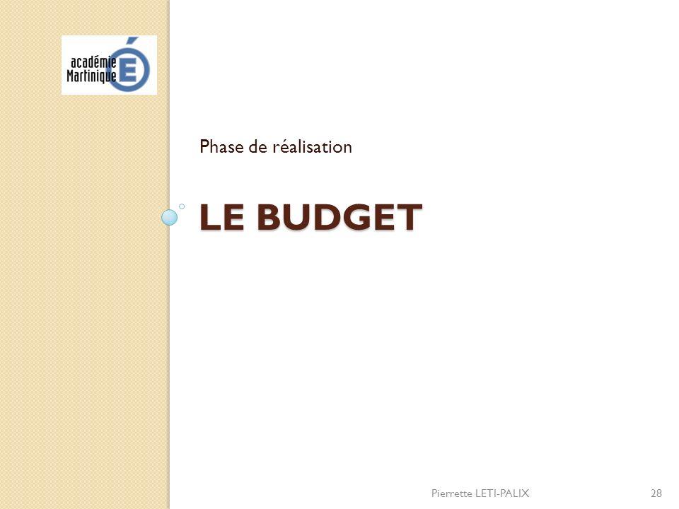 Phase de réalisation Le budget Pierrette LETI-PALIX