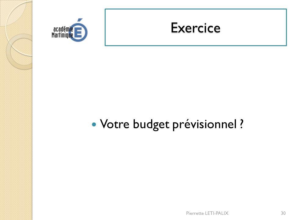 Votre budget prévisionnel