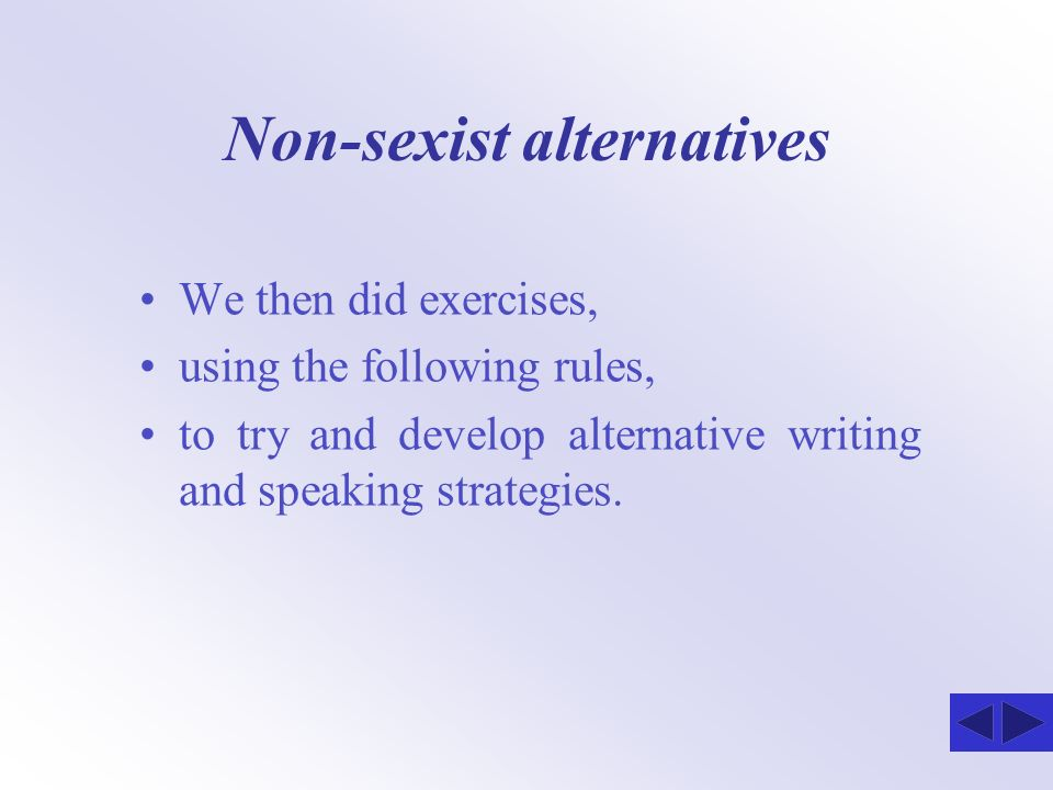 Non-sexist alternatives