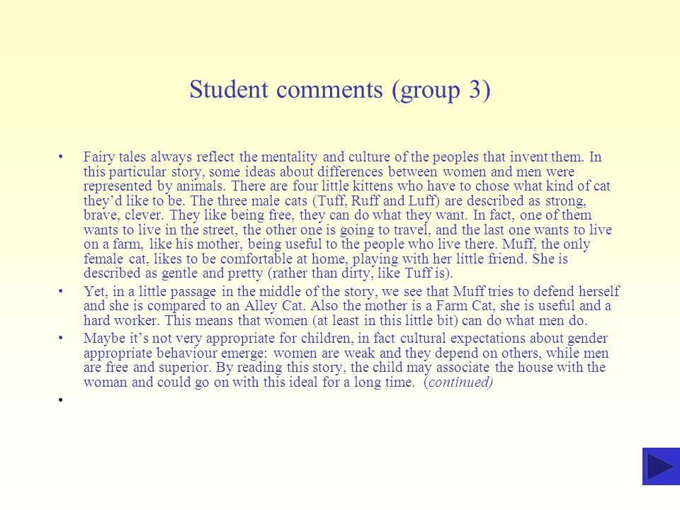 Student comments (group 3)