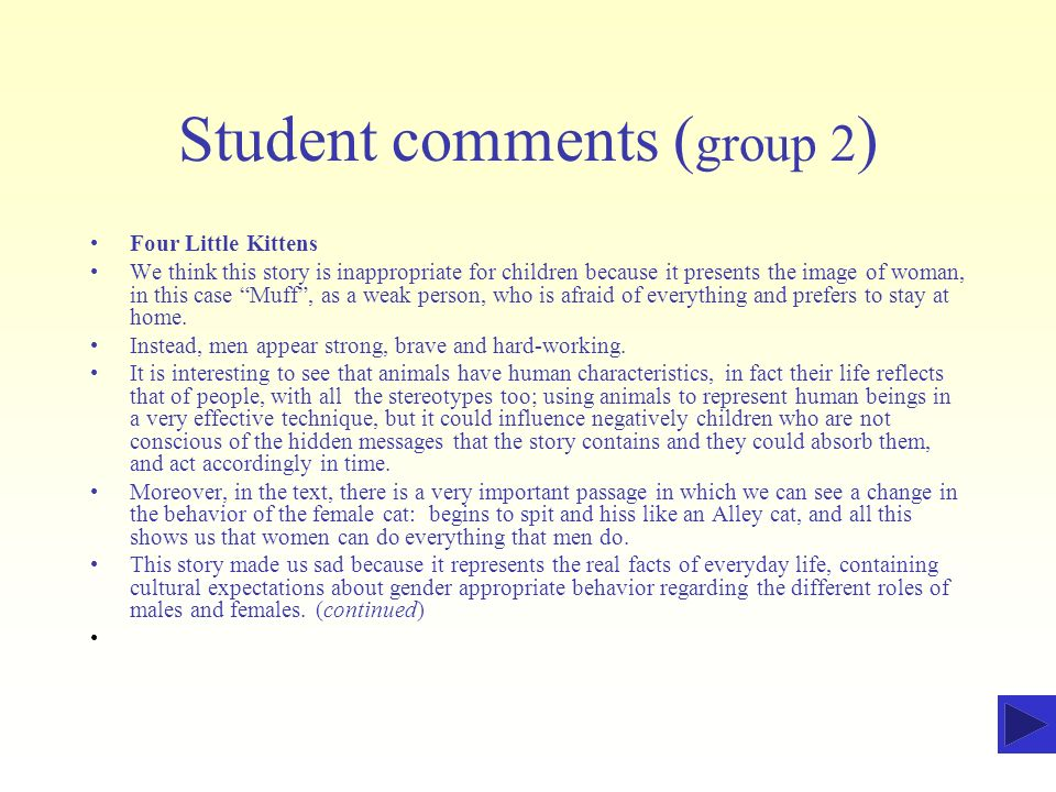 Student comments (group 2)