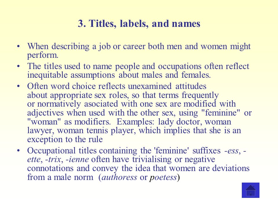 3. Titles, labels, and names