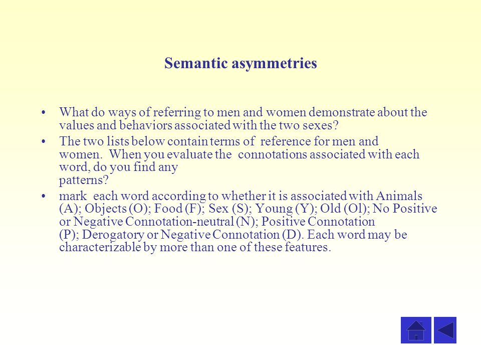 Semantic asymmetries What do ways of referring to men and women demonstrate about the values and behaviors associated with the two sexes