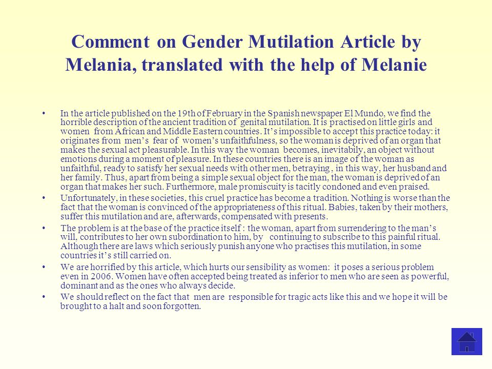 Comment on Gender Mutilation Article by Melania, translated with the help of Melanie