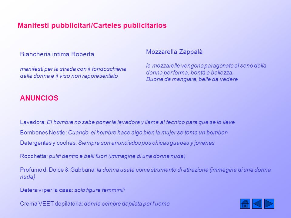 Manifesti pubblicitari/Carteles publicitarios