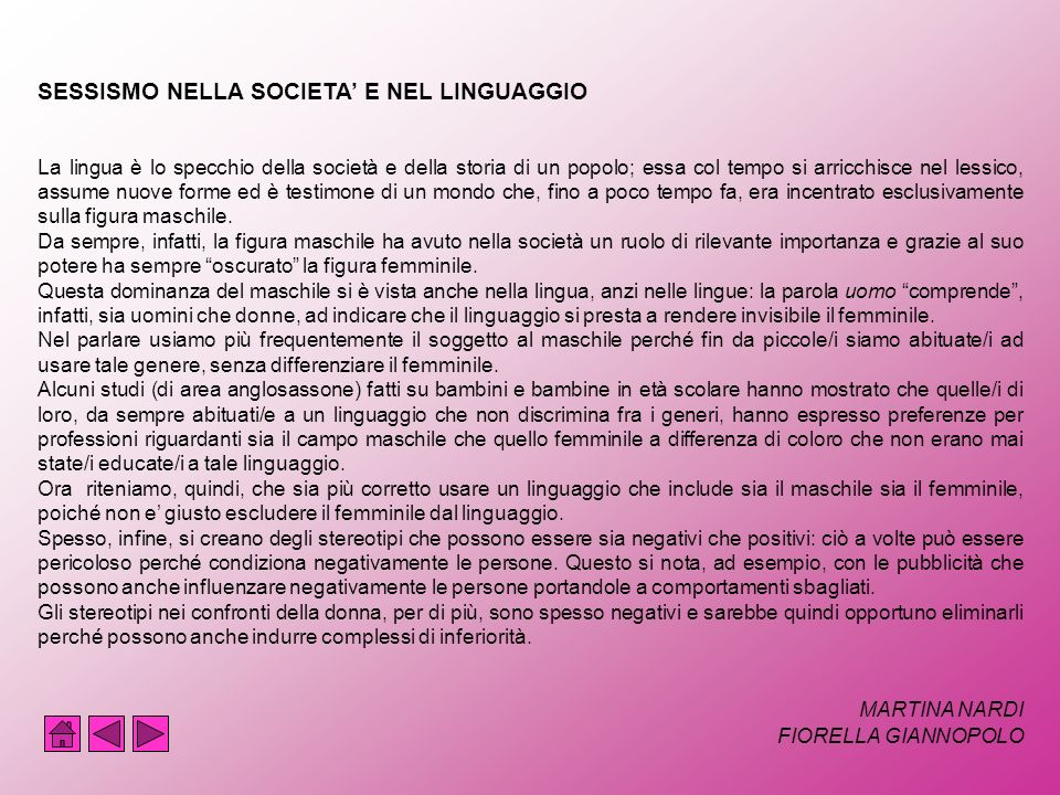 SESSISMO NELLA SOCIETA' E NEL LINGUAGGIO
