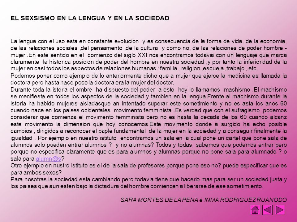 EL SEXSISMO EN LA LENGUA Y EN LA SOCIEDAD