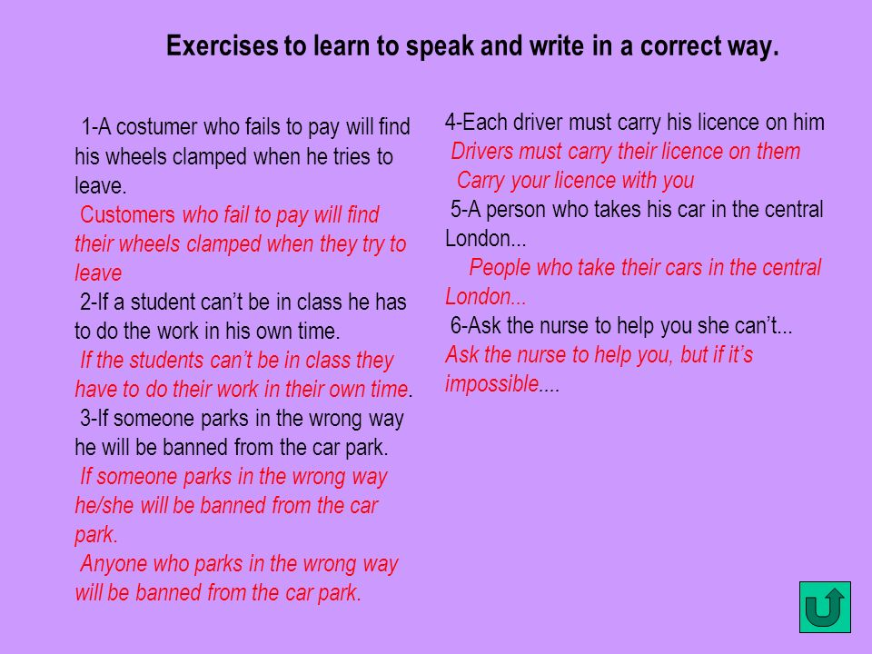Exercises to learn to speak and write in a correct way.