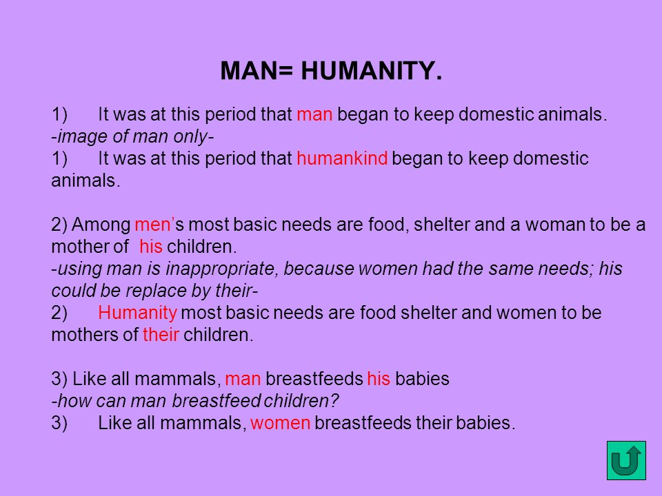 MAN= HUMANITY. 1) It was at this period that man began to keep domestic animals. -image of man only-