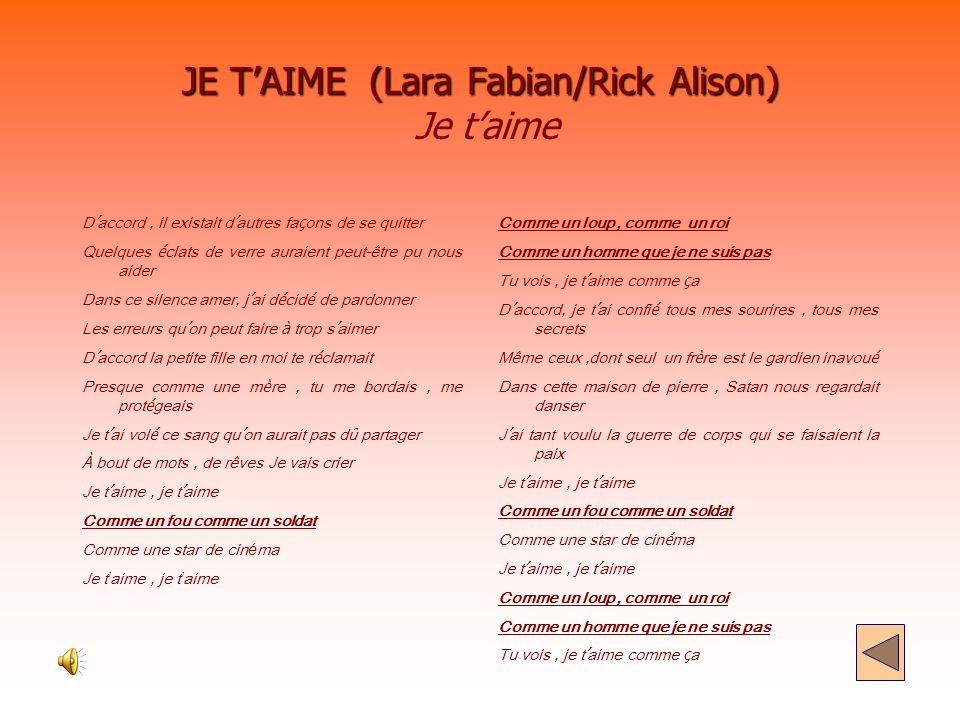 JE T'AIME (Lara Fabian/Rick Alison) Je t'aime