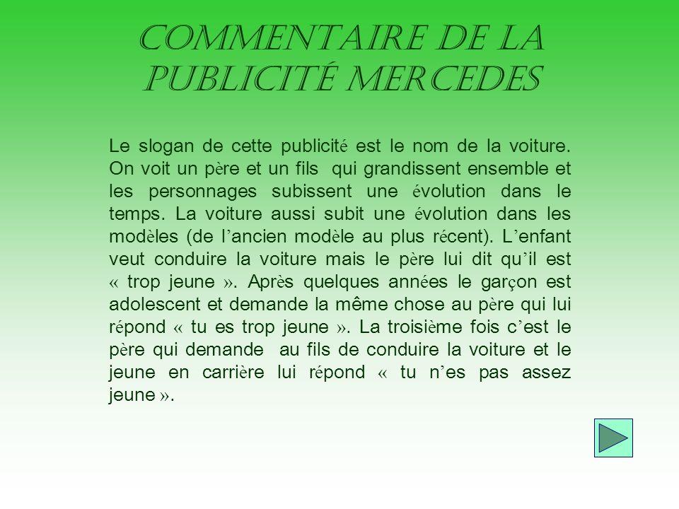 commentaire de la publicité Mercedes