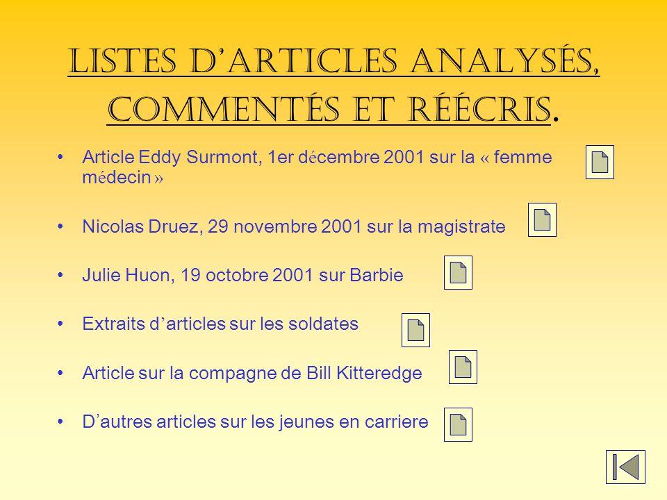 Listes d'articles analysés, commentés et réécris.
