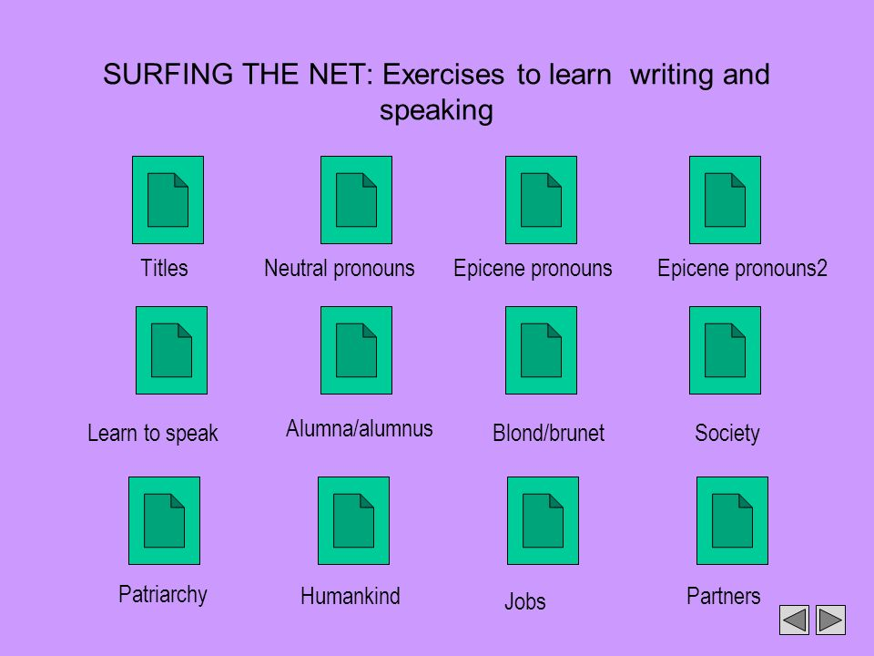 SURFING THE NET: Exercises to learn writing and speaking