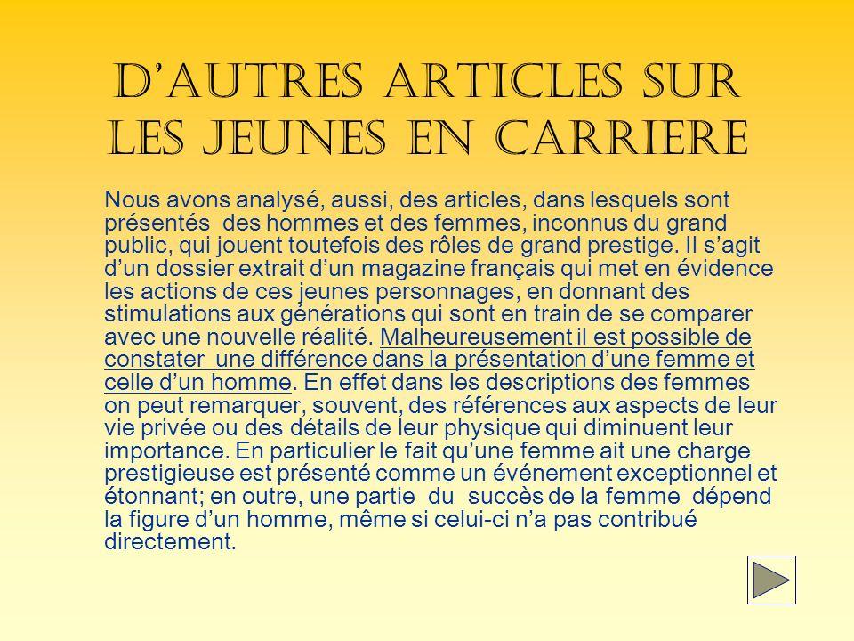 D'AUTRES ARTICLES SUR LES JEUNES EN CARRIERE