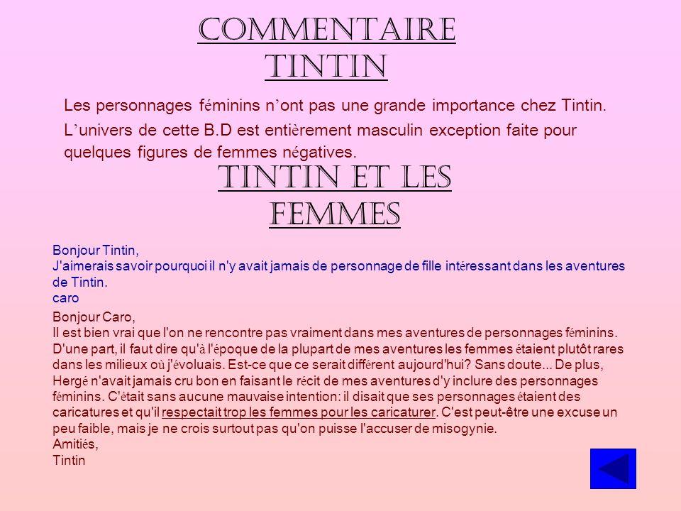 Commentaire Tintin Tintin et les femmes