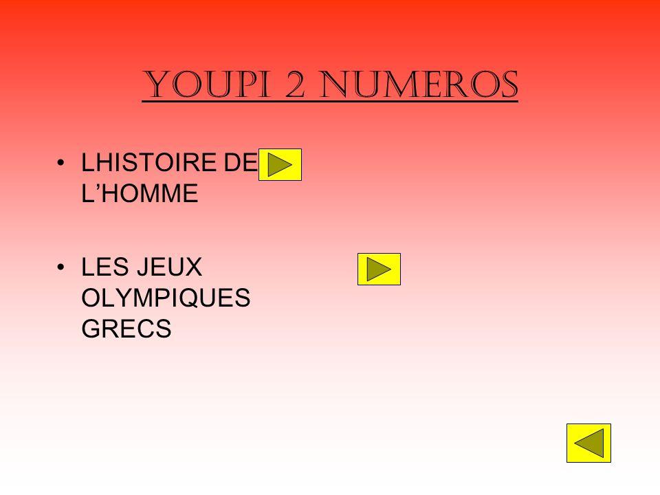 YOUPI 2 NUMEROS LHISTOIRE DE L'HOMME LES JEUX OLYMPIQUES GRECS