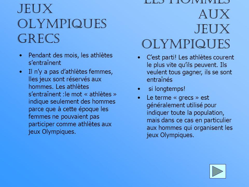 Les hommes aux jeux olympiques Jeux olympiques grecs