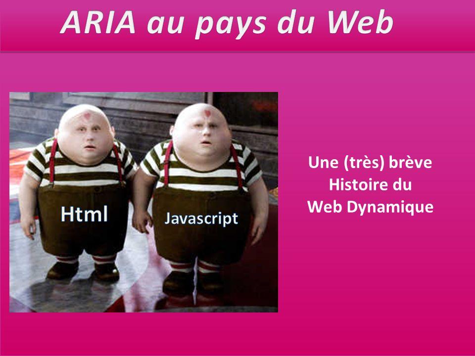 ARIA au pays du Web Html Une (très) brève Histoire du Web Dynamique