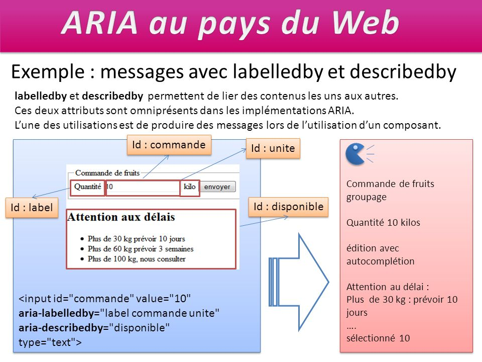 ARIA au pays du Web Exemple : messages avec labelledby et describedby