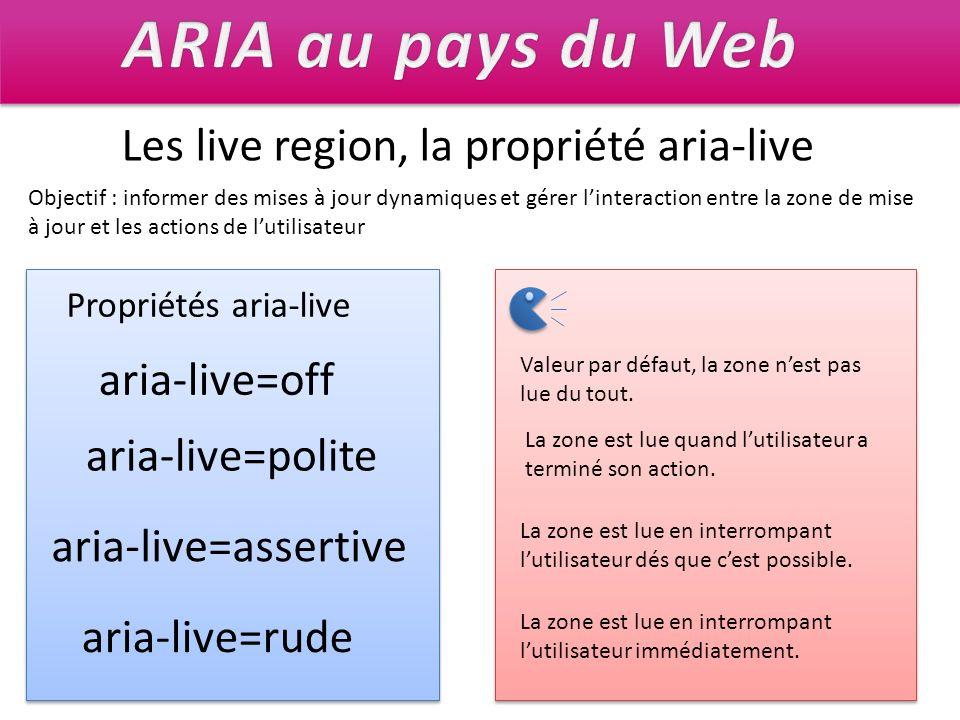 ARIA au pays du Web Les live region, la propriété aria-live