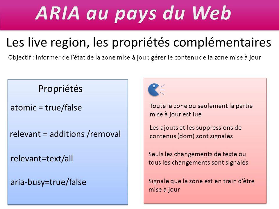 ARIA au pays du Web Les live region, les propriétés complémentaires