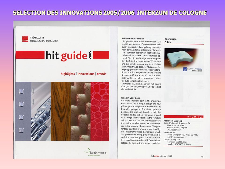 SELECTION DES INNOVATIONS 2005/2006 INTERZUM DE COLOGNE