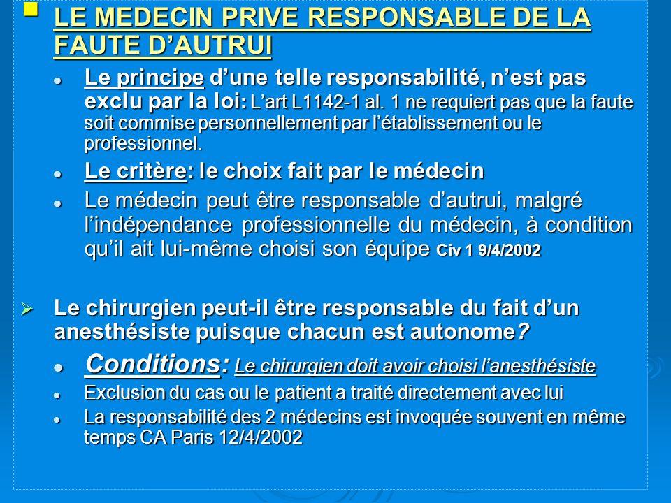 LE MEDECIN PRIVE RESPONSABLE DE LA FAUTE D'AUTRUI