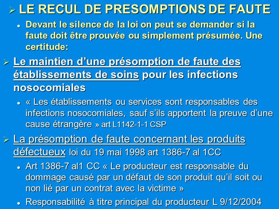 LE RECUL DE PRESOMPTIONS DE FAUTE