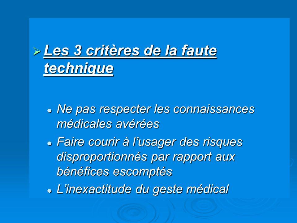 Les 3 critères de la faute technique