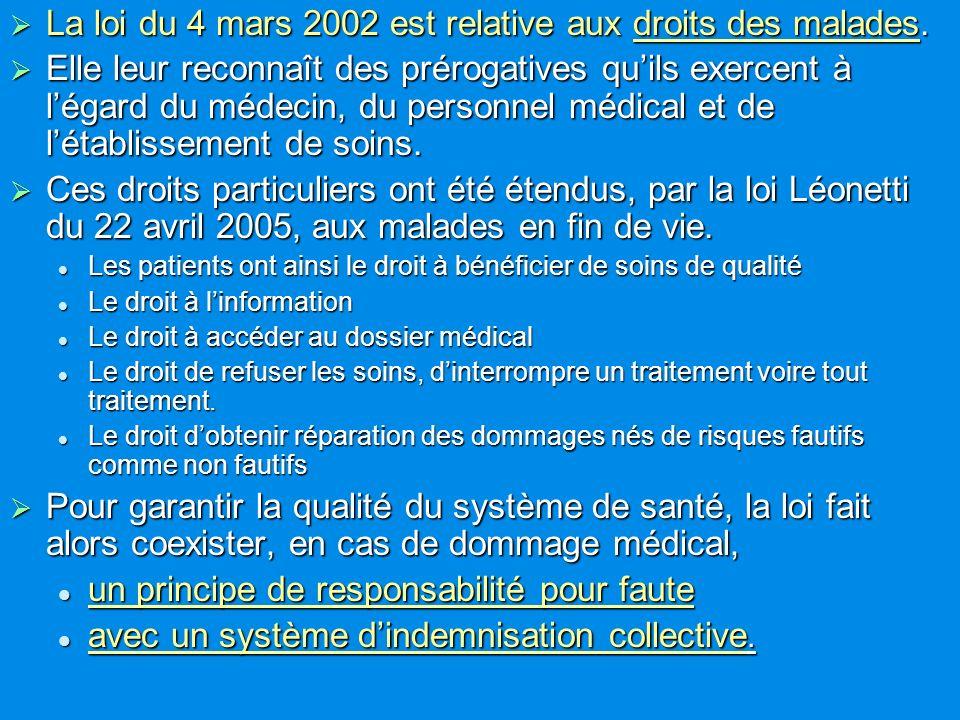 La loi du 4 mars 2002 est relative aux droits des malades.