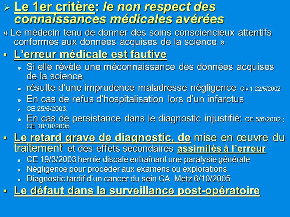 Le 1er critère: le non respect des connaissances médicales avérées