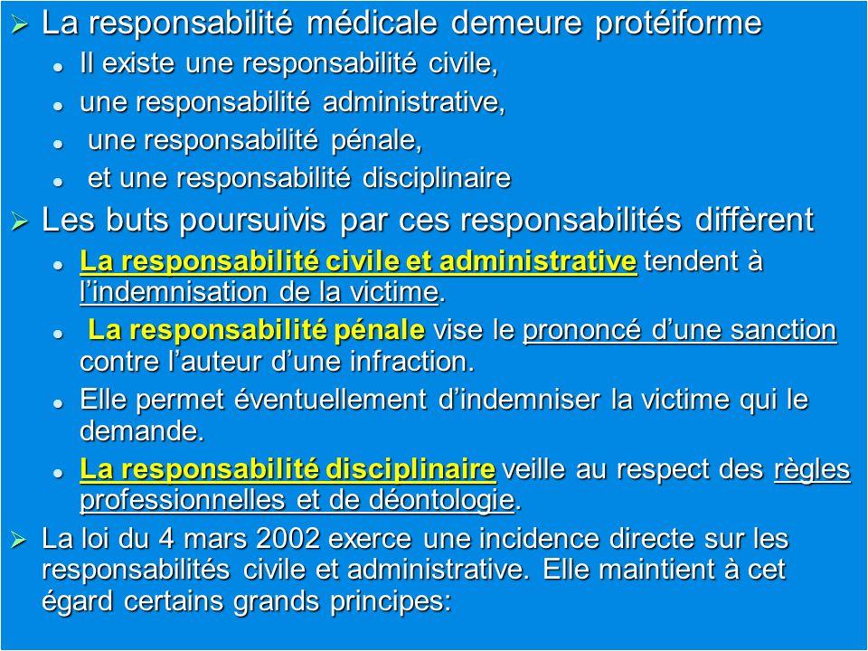 La responsabilité médicale demeure protéiforme