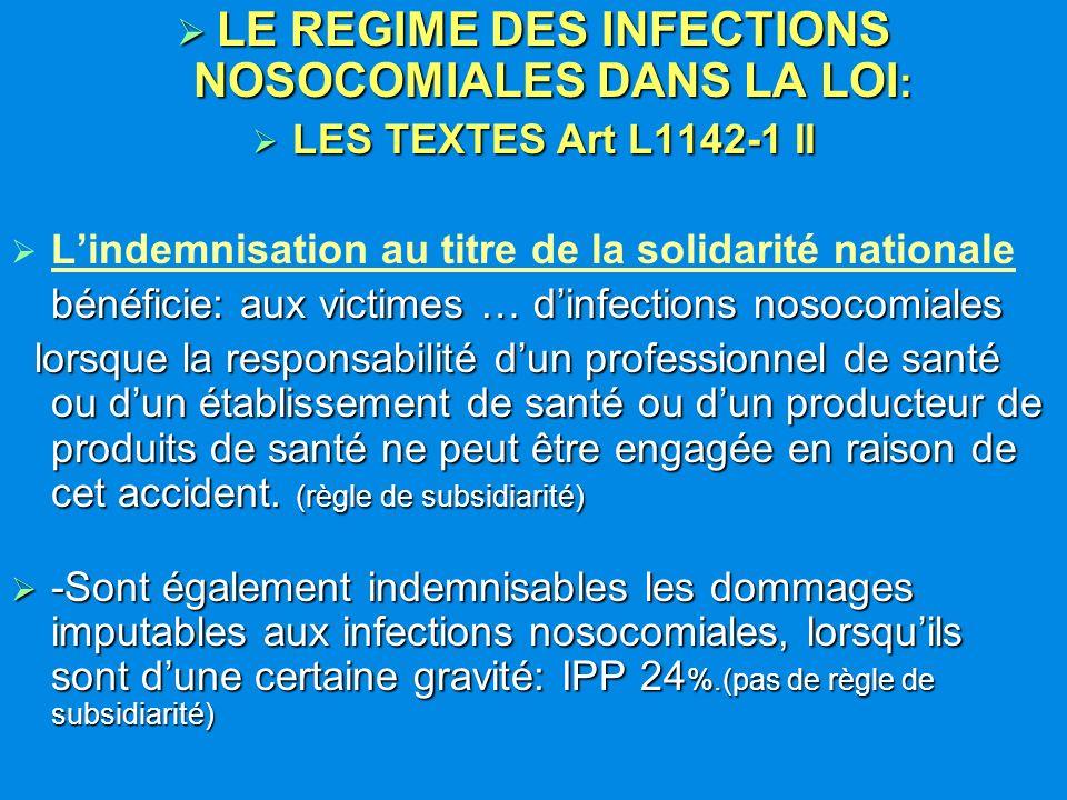 LE REGIME DES INFECTIONS NOSOCOMIALES DANS LA LOI: