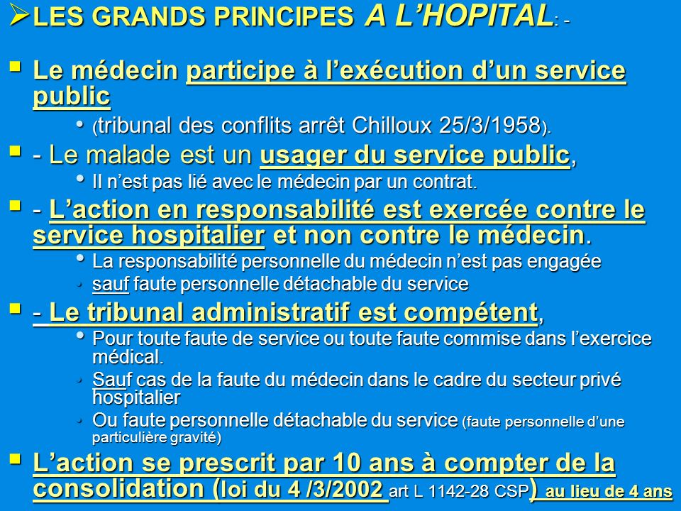 LES GRANDS PRINCIPES A L'HOPITAL: -