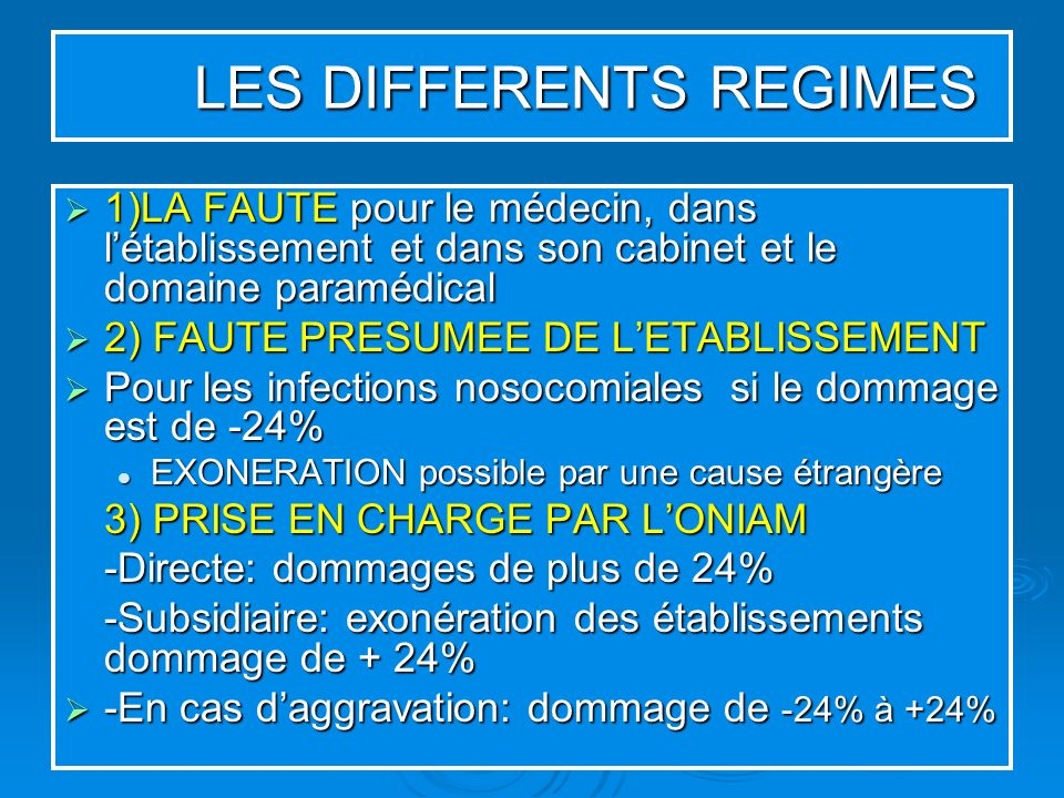 LES DIFFERENTS REGIMES