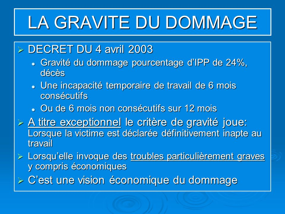 LA GRAVITE DU DOMMAGE DECRET DU 4 avril 2003