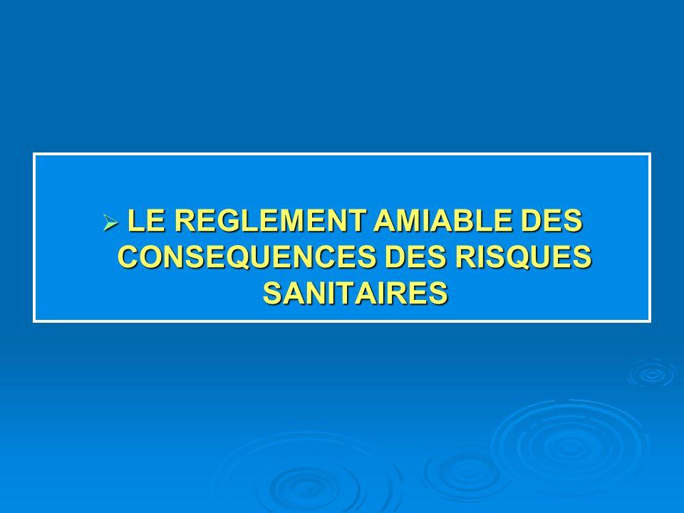 LE REGLEMENT AMIABLE DES CONSEQUENCES DES RISQUES SANITAIRES