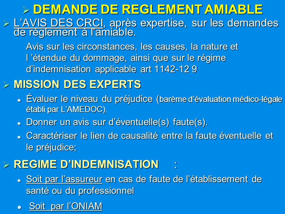 DEMANDE DE REGLEMENT AMIABLE