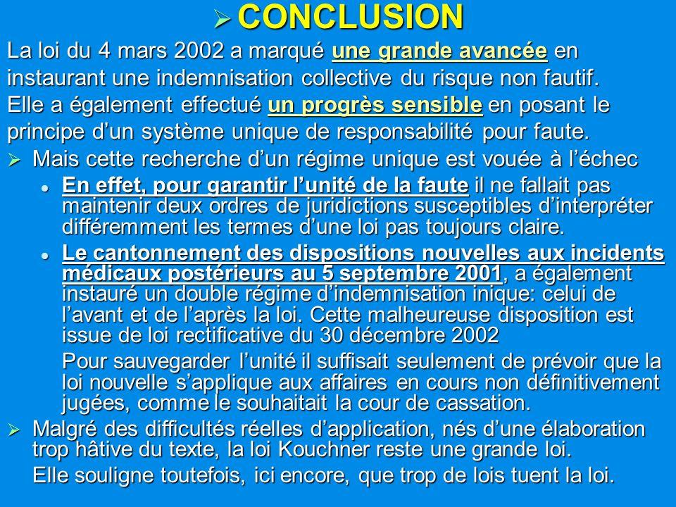 CONCLUSION La loi du 4 mars 2002 a marqué une grande avancée en