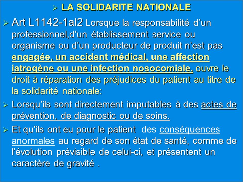 LA SOLIDARITE NATIONALE