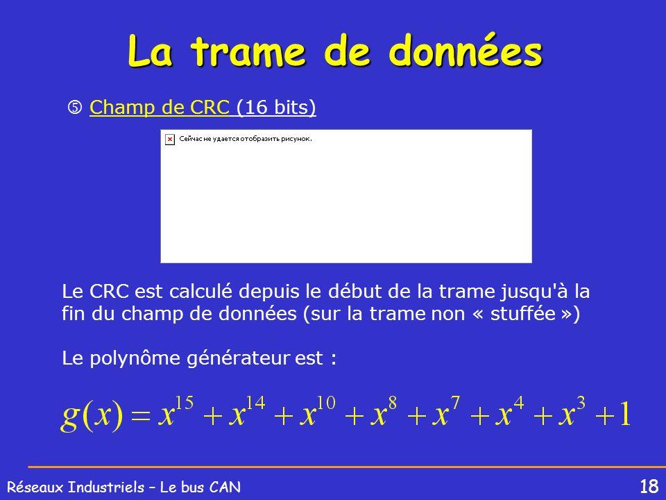 La trame de données  Champ de CRC (16 bits)