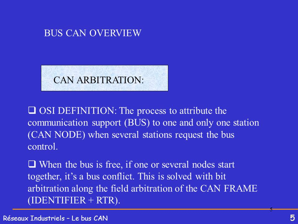 BUS CAN OVERVIEWCAN ARBITRATION: