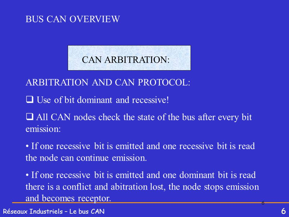 BUS CAN OVERVIEWCAN ARBITRATION: ARBITRATION AND CAN PROTOCOL: Use of bit dominant and recessive!