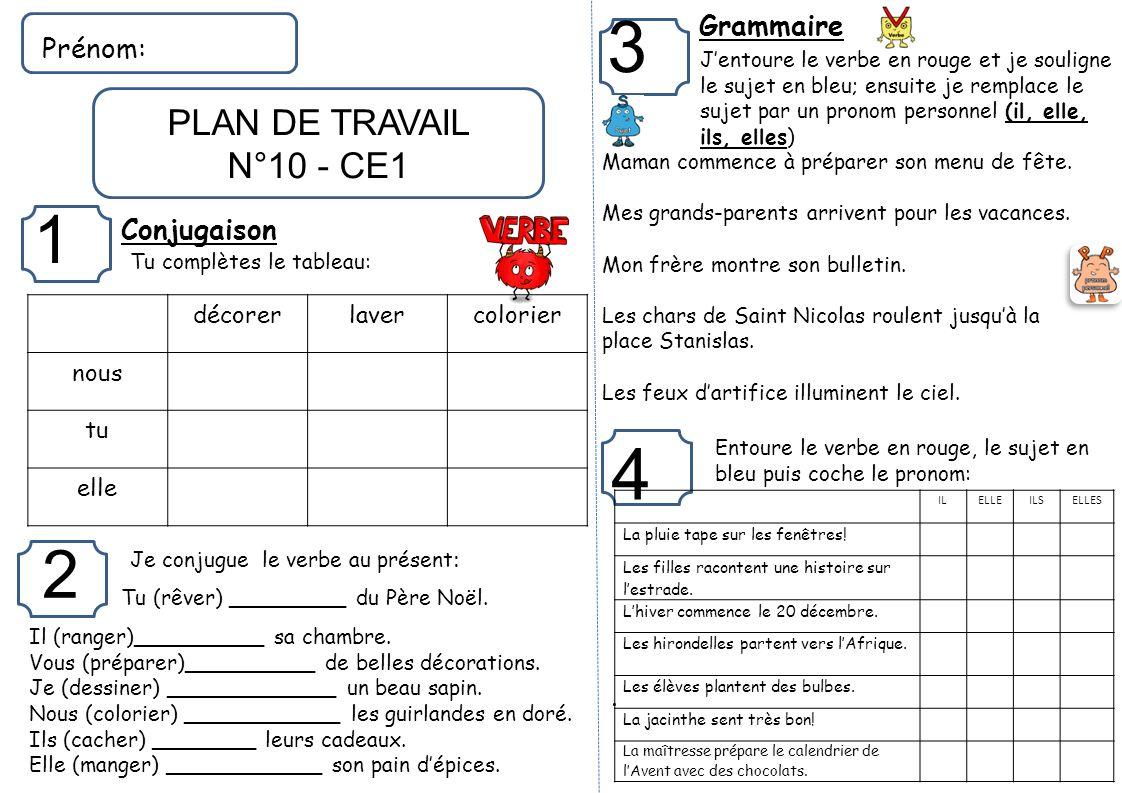 Top Grammaire Prénom: Conjugaison . décorer laver colorier nous tu  PI79