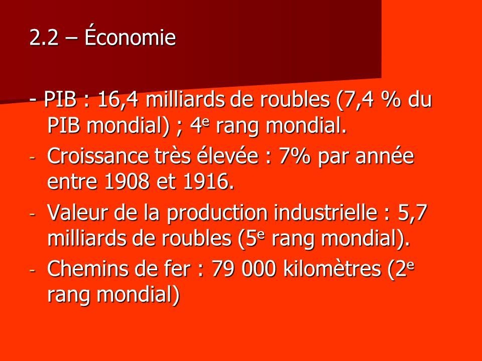 2.2 – Économie - PIB : 16,4 milliards de roubles (7,4 % du PIB mondial) ; 4e rang mondial. Croissance très élevée : 7% par année entre 1908 et 1916.