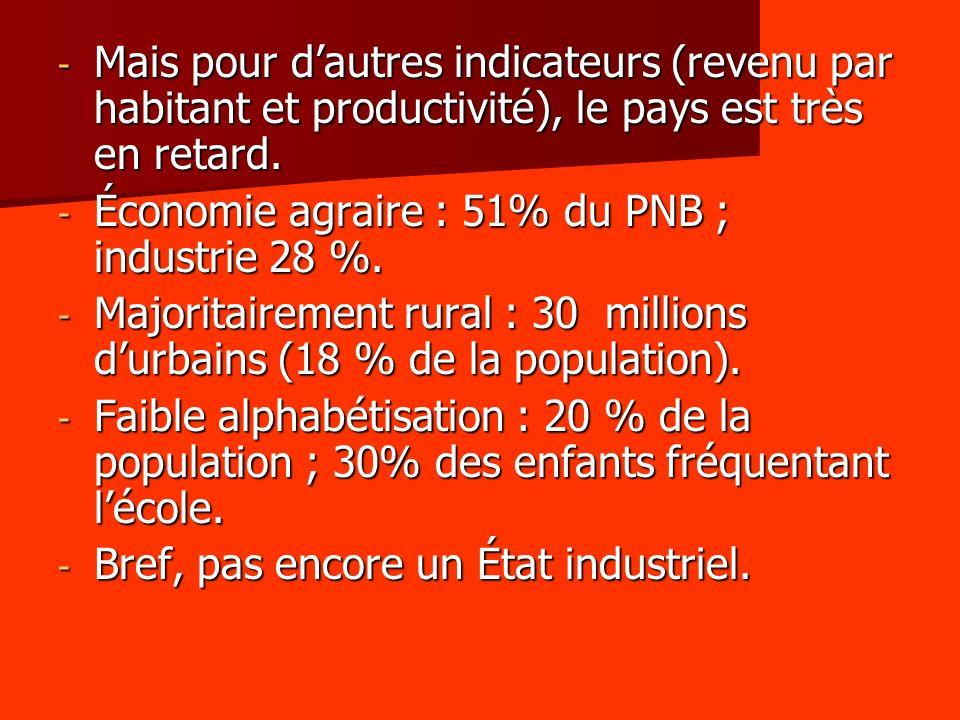Mais pour d'autres indicateurs (revenu par habitant et productivité), le pays est très en retard.