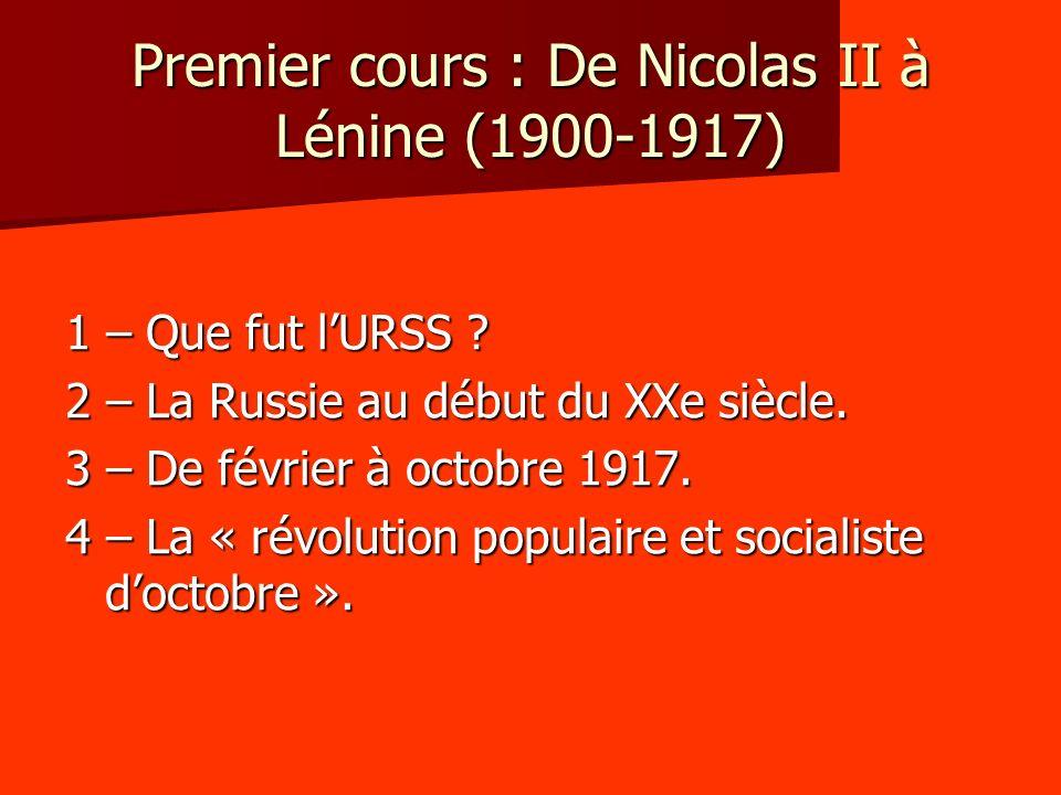 Premier cours : De Nicolas II à Lénine (1900-1917)
