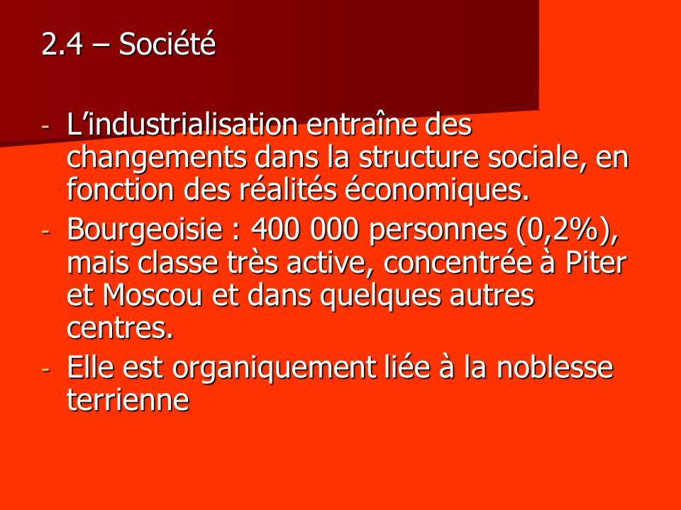 2.4 – Société L'industrialisation entraîne des changements dans la structure sociale, en fonction des réalités économiques.